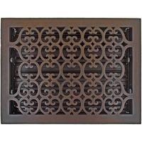 "Hamilton Sinkler - Scroll Floor Registers - Solid Bronze 10"" x 14"" Scroll Floor Register with Louver in Bronze Patina"
