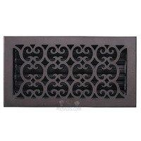 "Hamilton Sinkler - Scroll Floor Registers - Solid Bronze 6"" x 12"" Scroll Floor Register with Louver in Bronze Patina"