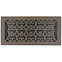 "Hamilton Sinkler - Scroll Floor Registers - Solid Bronze 6"" x 14"" Scroll Floor Register with Louver in Bronze Patina"