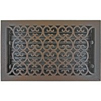 "Hamilton Sinkler - Scroll Floor Registers - Solid Bronze 8"" x 14"" Scroll Floor Register with Louver in Bronze Patina"