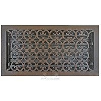 "Hamilton Sinkler - Scroll Floor Registers - Solid Bronze 8"" x 16"" Scroll Floor Register with Louver in Bronze Patina"