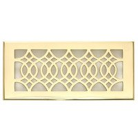 "Hamilton Sinkler - Strathmore Floor Registers - Solid Brass 4"" x 10"" Strathmore Floor Register with Louver in Polish Brass"