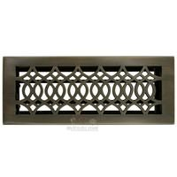 "Hamilton Sinkler - Strathmore Floor Registers - Solid Brass 4"" x 12"" Strathmore Floor Register with Louver in Antique Brass"
