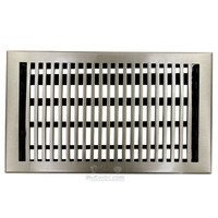 "Hamilton Sinkler - Flat Wall Registers - Solid Bronze 8"" x 14"" Flat Wall Register with Louver in Brushed Nickel"
