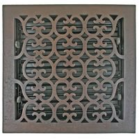 "Hamilton Sinkler - Scroll Wall Registers - Solid Bronze 10"" x 10"" Scroll Wall Register with Louver in Bronze Patina"