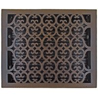 "Hamilton Sinkler - Scroll Wall Registers - Solid Bronze 12"" x 14"" Scroll Wall Register with Louver in Bronze Patina"