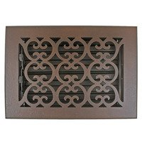 "Hamilton Sinkler - Scroll Wall Registers - Solid Bronze 6"" x 8"" Scroll Wall Register with Louver in Bronze Patina"
