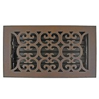 "Hamilton Sinkler - Scroll Wall Registers - Solid Bronze 6"" x 10"" Scroll Wall Register with Louver in Bronze Patina"