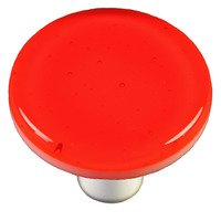 "Hot Knobs - Solids - 1 1/2"" Diameter Knob in Transparent Orange with Aluminum base"
