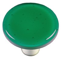 "Hot Knobs - Solids - 1 1/2"" Diameter Knob in Emerald Green with Aluminum base"