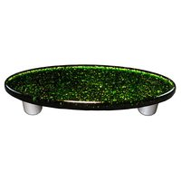 """Hot Knobs - Solids - 3"""" Centers Oval Handle in Light Metallic Green with Aluminum base"""