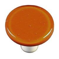 """Hot Knobs - Solids - 1 1/2"""" Diameter Knob in Burnt Orange with Aluminum base"""
