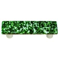 "Hot Knobs - Granite - 3"" Centers Handle in Light Metallic Green & White with Aluminum base"