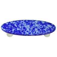 "Hot Knobs - Granite - 3"" Centers Handle in Cobalt Blue & White with Aluminum base"