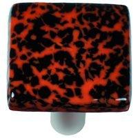 "Hot Knobs - Granite - 1 1/2"" Knob in Black & Orange with Aluminum base"