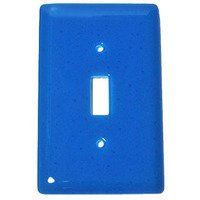 Hot Knobs - Solids Switchplates - Single Toggle Glass Switchplate in Turquoise Blue