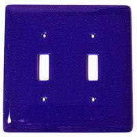 Hot Knobs - Solids Switchplates - Double Toggle Glass Switchplate in Deep Cobalt Blue