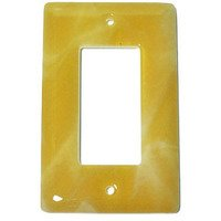 Hot Knobs - Swirls Switchplates - Single Rocker Glass Switchplate in Amber Swirl