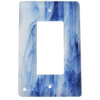 Hot Knobs - Swirls Switchplates - Single Rocker Glass Switchplate in Metallic Blue Clear Swirl
