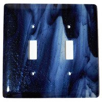 Hot Knobs - Swirls Switchplates - Double Toggle Glass Switchplate in Metallic Blue Clear Swirl