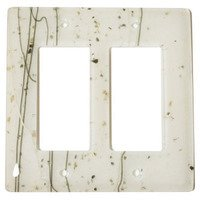 Hot Knobs - Mardis Gras Switchplates - Double Rocker Glass Switchplate in Vanilla & White