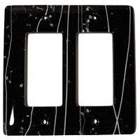 Hot Knobs - Mardis Gras Switchplates - Double Rocker Glass Switchplate in White & Black