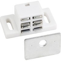 Hardware Resources - Shutter Hardware - 25lb. Magnetic Catch White/zinc with Strike & Screws in White