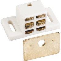 Hardware Resources - Shutter Hardware - 25lb. Magnetic Catch White/Brass with Strike & Screws in White