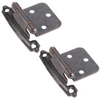 Hardware Resources - Hinges - Flush Hinge, Face Frame Self Closing Hinge in Brushed Oil Rubbed Bronze (PAIR)