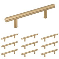 """Elements Hardware - Naples Cabinet Hardware - 10 Pack of 3"""" Centers Cabinet Pull in Brushed Gold"""