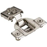 "Hardware Resources - Hinges - 1/2"" Overlay Compact Hinge with Cam Adj & 4 tabs with Dowels in Nickel"