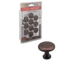 """Elements Hardware - Gatsby Cabinet Hardware - 10-Pack of 1-1/8"""" Diameter Cabinet Knobs in Brushed Oil Rubbed Bronze"""