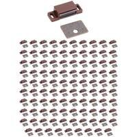 Hardware Resources - Shutter Hardware - (100 PACK) 15lb. Brown Magnetic Catch with Bronze Strike & Screws, in Brown