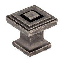 "Jeffrey Alexander - Delmar Cabinet Hardware - 1"" Square Knob in Distressed Pewter"