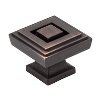 "Jeffrey Alexander - Delmar Cabinet Hardware - 1 1/4"" Square Knob in Brushed Oil Rubbed Bronze"