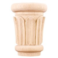 "Hardware Resources - Capitals - 2 5/8"" Reed Traditional Capital in Rubberwood Wood"