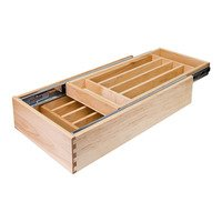 "Hardware Resources - Drawer Organizers - 18"" Nested Cutlery Drawer in Maple Wood"