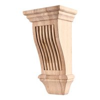 "Hardware Resources - Corbels and Bar Brackets - 5"" x 10"" x 4"" Reeded Renaissance Transitional Corbel in Hard Maple Wood"