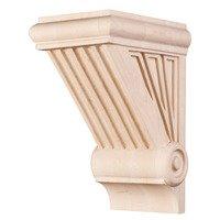 "Hardware Resources - Corbels and Bar Brackets - 7 1/4"" Starburst Art Deco Corbel in Rubberwood Wood"