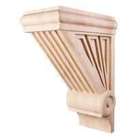 "Hardware Resources - Corbels and Bar Brackets - 15 3/4"" Starburst Art Deco Corbel in Rubberwood Wood"