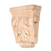 "Hardware Resources - Corbels and Bar Brackets - Acanthus Traditional Corbel 1 3/4"" in Cherry Wood"
