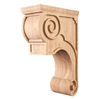 "Hardware Resources - Corbels and Bar Brackets - 3 3/8"" x 11 3/4"" x 8"" Fleur-De-Lis Traditional Corbel with Smooth Surface Design in Rubberwood Wood"