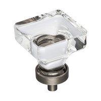 "Jeffrey Alexander - Harlow Cabinet Hardware - 1-3/8"" Glass Cabinet Knob in Brushed Pewter"