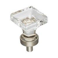 "Jeffrey Alexander - Harlow Cabinet Hardware - 1"" Glass Cabinet Knob in Satin Nickel"