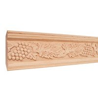 "Hardware Resources - Mouldings - 4 3/4"" Grape Traditional Hand Carved Mouldings in Basswood Wood (8 Linear Feet)"