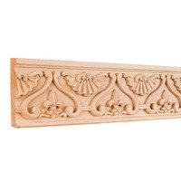 Hardware Resources - Mouldings - Fleur-De-Lis Traditional Hand Carved Mouldings in Alder Wood (8 Linear Feet)