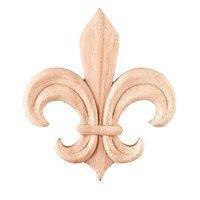 Hardware Resources - Onlays and Appliqués - Fleur-De-Lis Traditional Applique in Rubberwood Wood