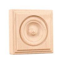 "Hardware Resources - Mouldings - 3"" Traditional Rosette in Oak Wood"