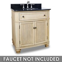 "Elements Hardware - Large Bathroom Vanities - 32"" Bathroom Vanity in Buttercream with Black Granite Top and Bowl"