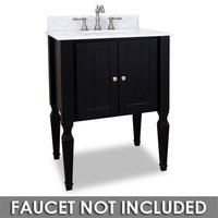 "Hardware Resources - Elements Small Bathroom Vanities - 28"" Bathroom Vanity in Black with White Marble Top and Bowl"